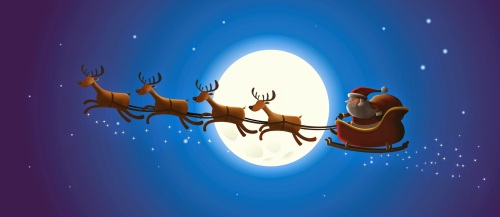 santa-claus-riding-his-sleigh-in-sky-with-moon-background-cartoon-drawing-image